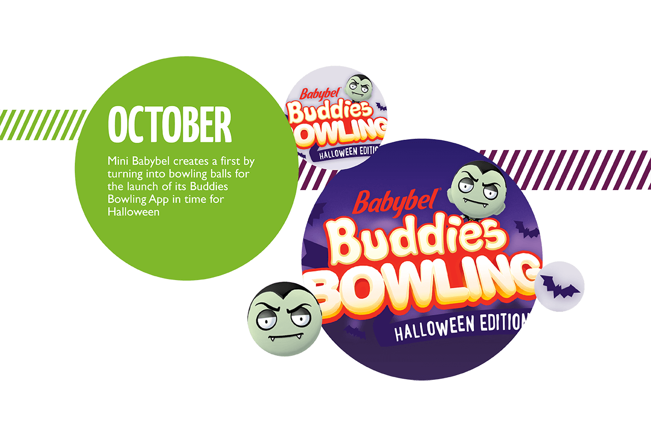 October: Mini Babybel creates a first by turning into bowling balls for the launch of its Buddies Bowling App in time for Halloween